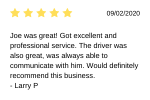 Joe was great! Got excellent and professional service. The driver was also great, was always able to communicate with him. Would definitely recommend this business.